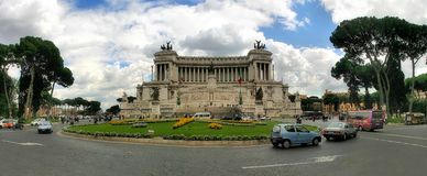 Panoramic view of Piazza Venezia in Rome, Italy. Panoramic view on piazza Venezia and National Monument of Victor Emmanuel II (Monumento Nazionale a Vittorio Royalty Free Stock Photos