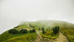 Panoramic view at the Pichincha volcano, located just to the side of Quito, in a foggy day in the top of the Pichincha Royalty Free Stock Photos
