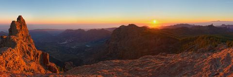 Panoramic view from Pico de las Nieves at sunset Royalty Free Stock Images