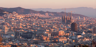 Panoramic view of picturesque Barcelona cityscape, Spain Royalty Free Stock Photography