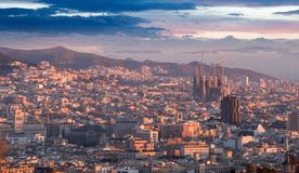Panoramic view of picturesque Barcelona cityscape, Spain Stock Photo
