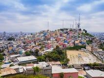 Las Penas neighborhood from Santa Ana hill, Guayaquil, Ecuador. Panoramic view of picturesque Las Penas neighborhood from Santa Ana hill, Guayaquil, Ecuador Royalty Free Stock Photo