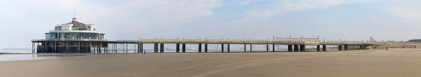 Panoramic view of the Pier in Blankenberge in Belgium. Side view from the beach stock photography