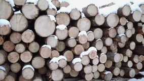 Panoramic view of pile of lumber covered in snow on winter day. Panoramic view of pile of lumber along road at sawmill covered in white snow on winter cloudy day stock footage