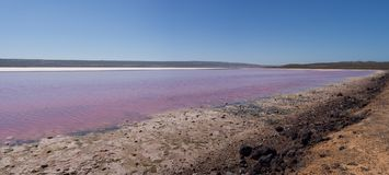 Panoramic view of the Pink Lake Hutt Lagoon, Port Gregory, Western Australia Stock Photo