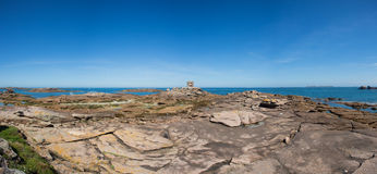 Panoramic view of the Pink Rock in Tregastel Royalty Free Stock Photos