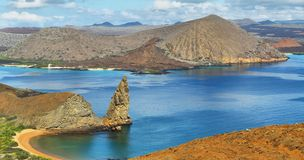Panoramic view of pinnacle Rock and surroundings in Bartolome stock images