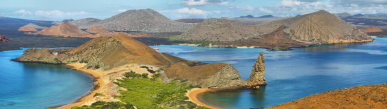 Panoramic view of pinnacle Rock and surroundings in Bartolome Royalty Free Stock Photo