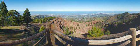 Panoramic view from Pinos del Galdar into the Crater rim, Gran Canaria Stock Photo