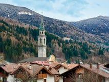 Panoramic view Pinzolo Italy Trentino Alto Adige Rendena valley Stock Photos