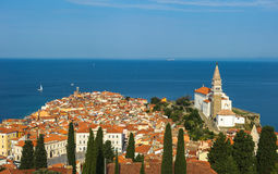 Panoramic view of Piran over Adriatic Sea, Slovenia Stock Image