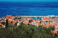 Panoramic view of Piran, Slovenia in summer Stock Images