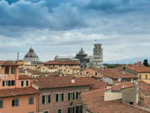 Panoramic view of Pisa cityscape. Rooftops and Miracles Square Royalty Free Stock Photo