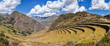 Panoramic view of Pisac in the Sacred Valley, Peru Stock Image