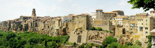 Panoramic view on a Pitigliano town Royalty Free Stock Photos