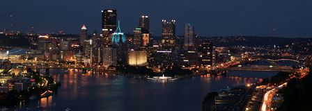 Pittsburgh downtown at night. Panoramic view of Pittsburgh downtown at nighttime from West End Elliott Overlook Park royalty free stock photos