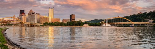 Pittsburgh skyline and Point State Park stock photo