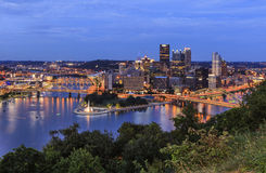 Panoramic view of Pittsburgh in twilight Stock Images