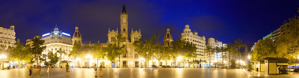 Panoramic view of Placa del Ajuntament  in night. Valencia Royalty Free Stock Image