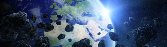 Panoramic view of planet Earth with asteroids flying close 3D re. Panoramic view of planet Earth with asteroids flying close in space 3D rendering elements of Stock Photography