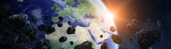 Panoramic view of planet Earth with asteroids flying close 3D re. Panoramic view of planet Earth with asteroids flying close in space 3D rendering elements of Stock Images