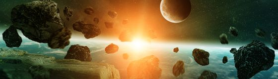 Panoramic view of planet Earth with asteroids flying close 3D re. Panoramic view of planet Earth with asteroids flying close in space 3D rendering elements of Royalty Free Stock Photo