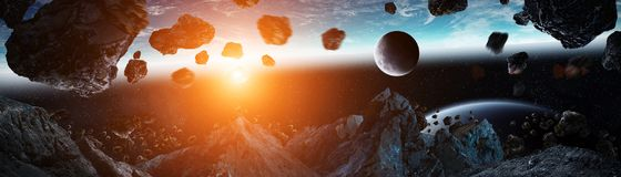 Panoramic view of planet Earth with asteroids flying close 3D re. Panoramic view of planet Earth with asteroids flying close in space 3D rendering elements of Stock Image