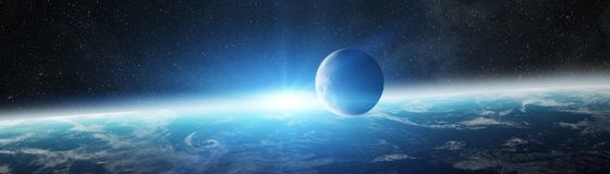 Panoramic view of planet Earth with the moon 3D rendering elemen. Panoramic view of planet Earth with the moon in space 3D rendering elements of this image Royalty Free Stock Photos