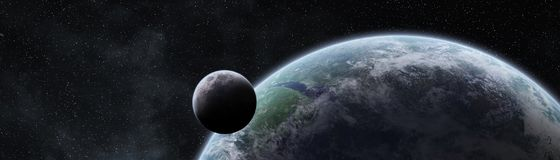 Panoramic view of planet Earth with the moon 3D rendering elemen. Panoramic view of planet Earth with the moon in space 3D rendering elements of this image Stock Photography