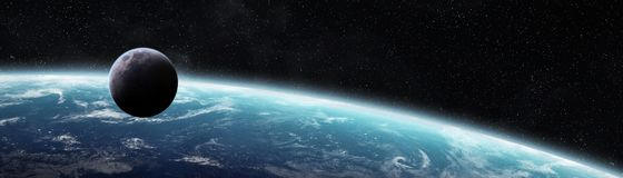 Panoramic view of planet Earth with the moon 3D rendering elemen. Panoramic view of planet Earth with the moon in space 3D rendering elements of this image Royalty Free Stock Images