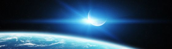 Panoramic view of planet Earth with the moon 3D rendering elemen. Panoramic view of planet Earth with the moon in space 3D rendering Stock Photography