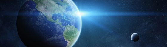 Panoramic view of planet Earth with the moon 3D rendering elemen. Panoramic view of planet Earth with the moon in space 3D rendering elements of this image Royalty Free Stock Image