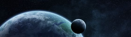 Panoramic view of planet Earth with the moon 3D rendering elemen. Panoramic view of planet Earth with the moon in space 3D rendering Royalty Free Stock Image