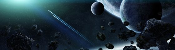 Panoramic view of planets in distant solar system 3D rendering e. Panoramic view of planets in distant solar system in space 3D rendering elements of this image Stock Image