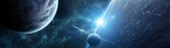 Panoramic view of planets in distant solar system 3D rendering e. Panoramic view of planets in distant solar system in space 3D rendering elements of this image Stock Photo