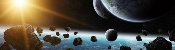 Panoramic view of planets in distant solar system 3D rendering e. Panoramic view of planets in distant solar system in space 3D rendering elements of this image Stock Photos