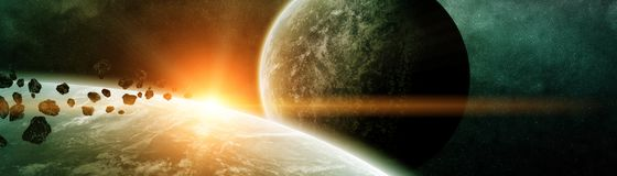 Panoramic view of planets in distant solar system 3D rendering e. Panoramic view of planets in distant solar system in space 3D rendering elements of this image Royalty Free Stock Images