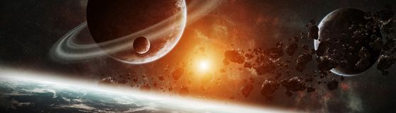 Panoramic view of planets in distant solar system 3D rendering e. Panoramic view of planets in distant solar system in space 3D rendering elements of this image Royalty Free Stock Photo