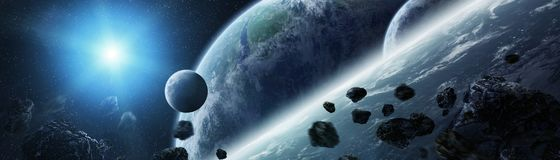 Panoramic view of planets in distant solar system 3D rendering e. Panoramic view of planets in distant solar system in space 3D rendering elements of this image Royalty Free Stock Photos