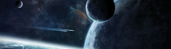 Panoramic view of planets in distant solar system 3D rendering e. Panoramic view of planets in distant solar system in space 3D rendering Stock Photography