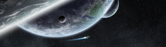 Panoramic view of planets in distant solar system 3D rendering e. Panoramic view of planets in distant solar system in space 3D rendering Stock Photos