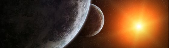 Panoramic view of planets in distant solar system 3D rendering e. Panoramic view of planets in distant solar system in space 3D rendering Stock Image