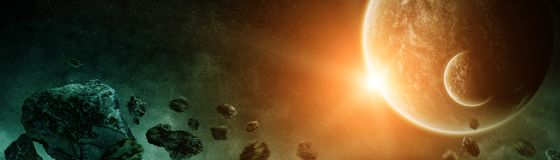 Panoramic view of planets in distant solar system 3D rendering e. Panoramic view of planets in distant solar system in space 3D rendering elements of this image Stock Images