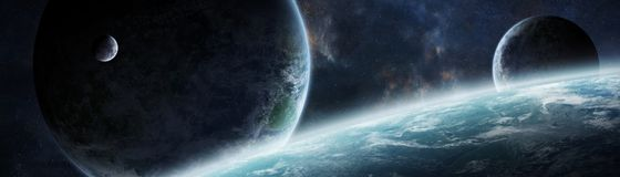 Panoramic view of planets in distant solar system 3D rendering e. Panoramic view of planets in distant solar system in space 3D rendering elements of this image Royalty Free Stock Photography