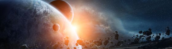 Panoramic view of planets in distant solar system 3D rendering e. Panoramic view of planets in distant solar system in space 3D rendering elements of this image Stock Photography