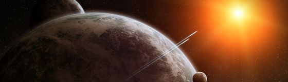 Panoramic view of planets in distant solar system 3D rendering e. Panoramic view of planets in distant solar system in space 3D rendering elements of this image Royalty Free Stock Image