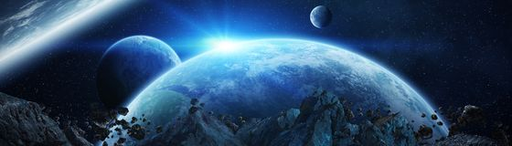 Panoramic view of planets in distant solar system 3D rendering e. Panoramic view of planets in distant solar system in space 3D rendering Royalty Free Stock Image