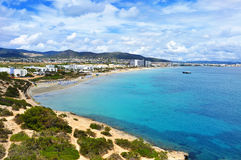 Panoramic view of the Platja den Bossa beach in Ibiza Town, Spain. A panoramic view of the Platja den Bossa beach in Ibiza Town, in Ibiza Island, Balearic royalty free stock image