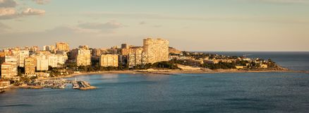 Panoramic view of Playa De San Juan, Alicante, Spain. During nice sunset royalty free stock image