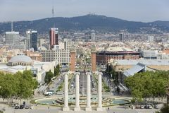 Panoramic view of Plaza de Espana Barcelona from the Museum of Arts stock image